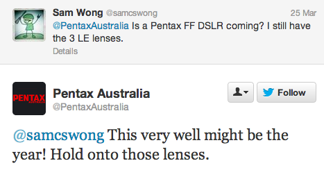 Pentax full frame DSLR camera rumors Pentax full frame DSLR camera is coming, but not tomorrow