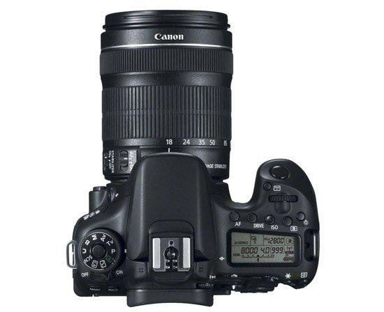 Canon EOS 70D (Tampak atas)