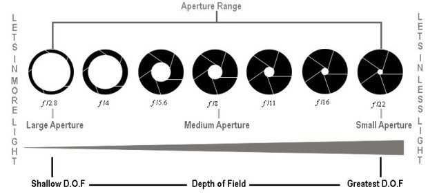 Diagram Aperture dan Efek DOF, Image Labeled For Commercial Reusable