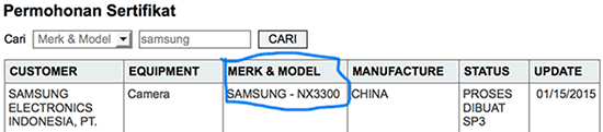 Bocoran informasi Samsung NX3300