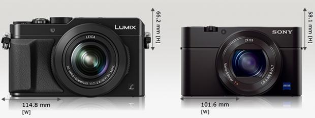 Panasonic Lumix LX100 vs Sony RX100, Image Credit : Camerasize