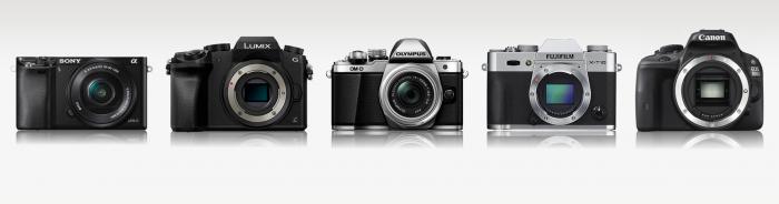 Sony A6000, Panasonic G7, Olympus E-M10 II, Fujifilm X-T10, Canon 100D (Depan)